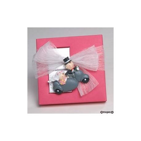 Saquito rosa cuadritos bebé/ coche asas