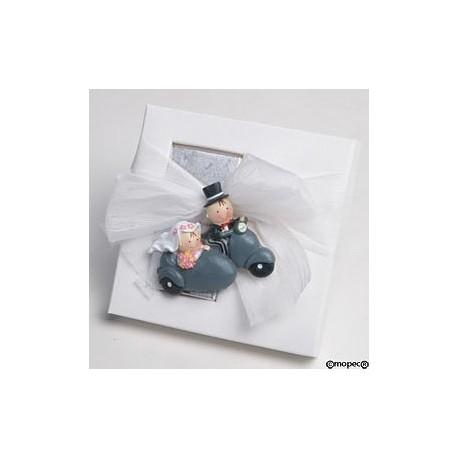 Saquito azul cuadritos bebé/ coche asas
