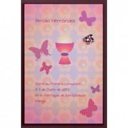 Estampa cáliz mariposas rosas