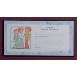 Invitación tres niños azul