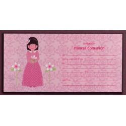 Invitación niña vestido rosa
