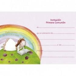Invitación niña arco iris