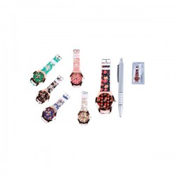 Reloj floral y bolígrafo