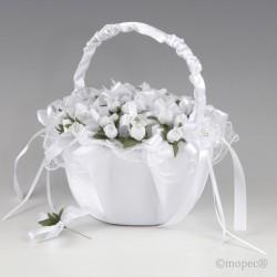 Cesta tul blanco con flores...