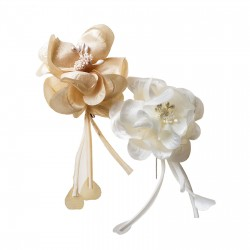 Broche flor marfil/beige