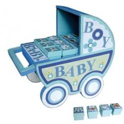 Expositor carro baby azul