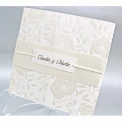 Invitación motivo rosas blanco
