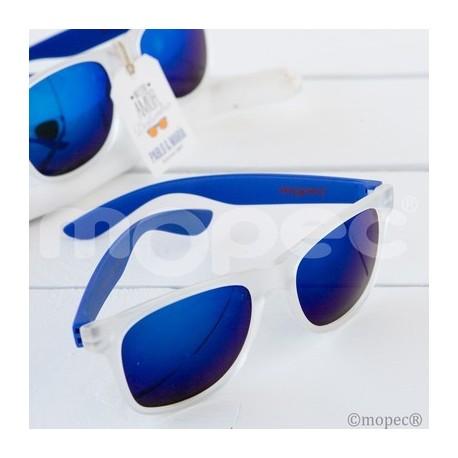 Gafas De Sol Con Efecto Espejo Patillas En Tono Azul